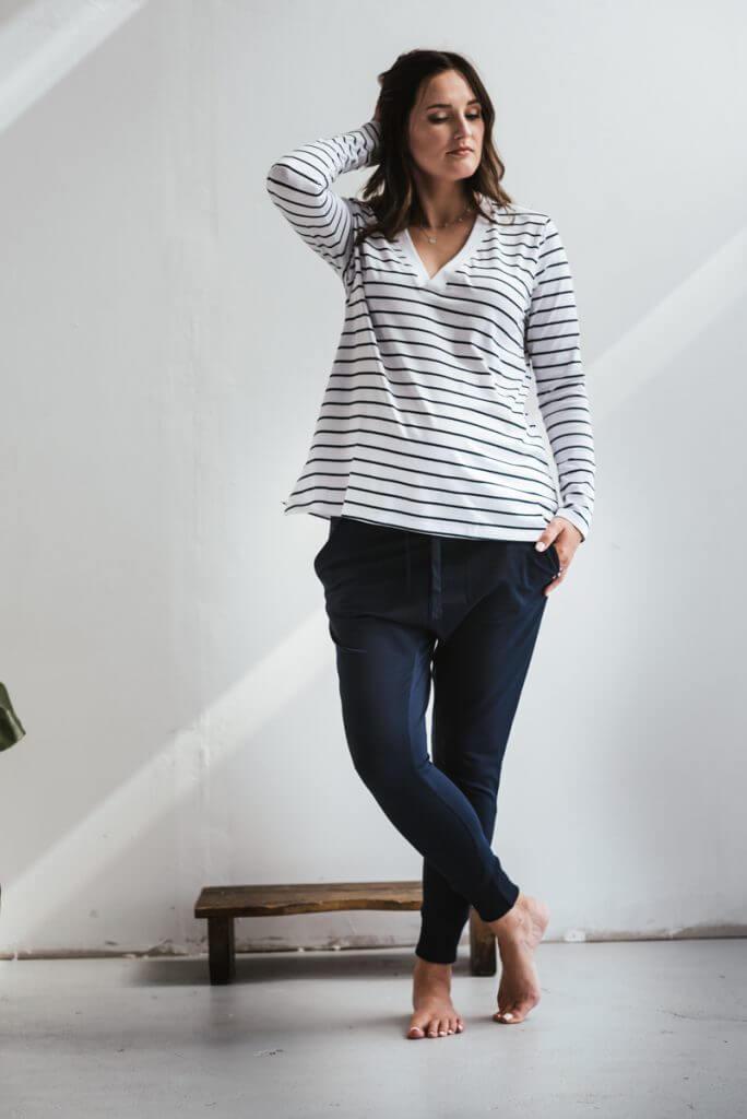 V-NECK oversize longsleeve - breton stripes