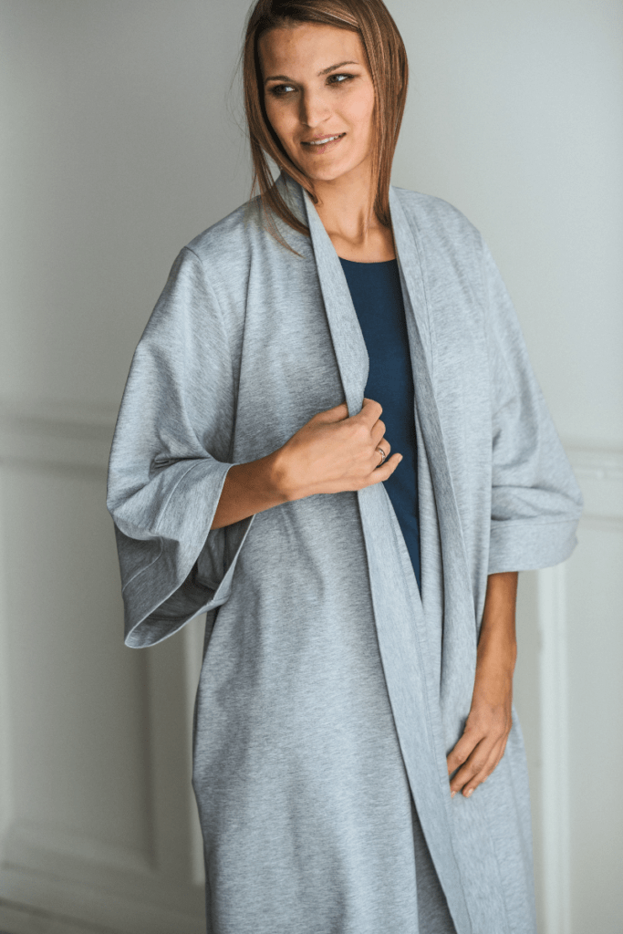 DRESSING GOWN - grey melange