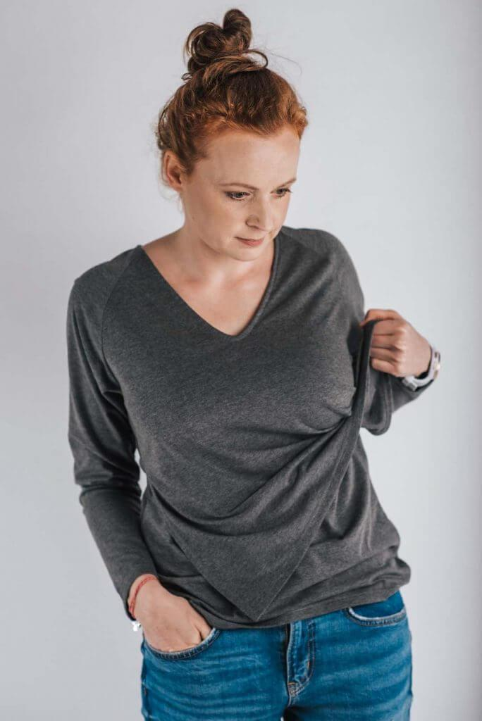 ALL-DAY-LONG LONGSLEEVE V-NECK - graphite melange